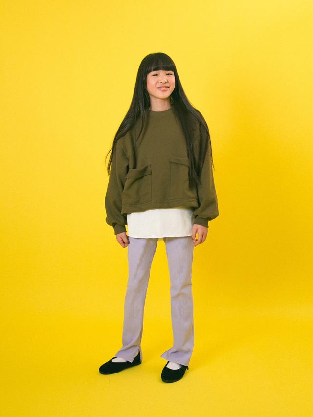 【mimi poupons】180475-1KHポケット付き スウェット KH