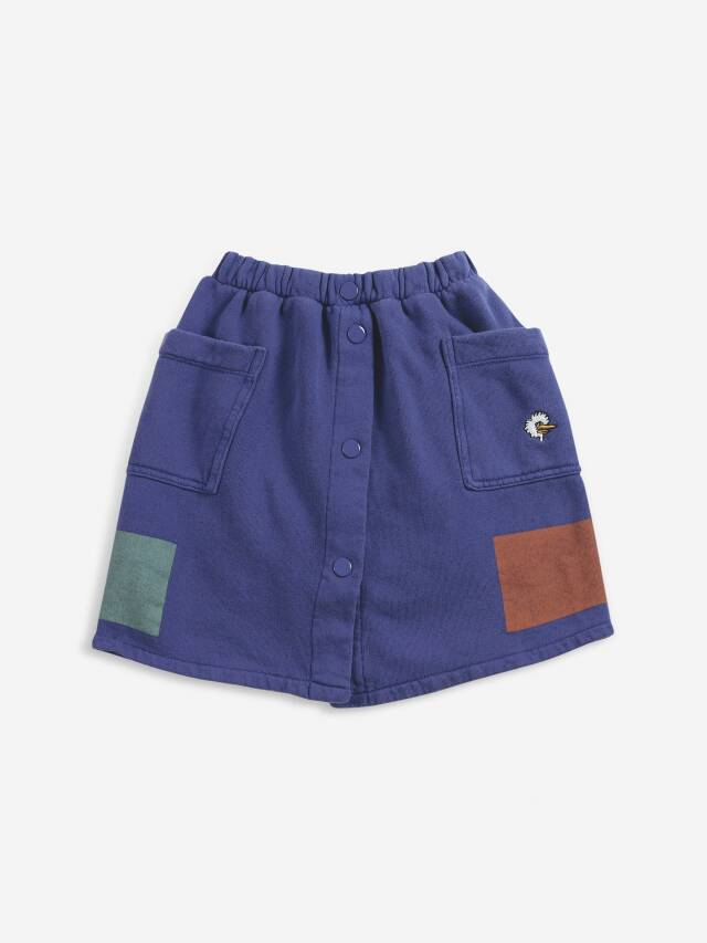 【BOBOCHOSES】Drop2/221AC113 Geometric fleece buttoned skirt