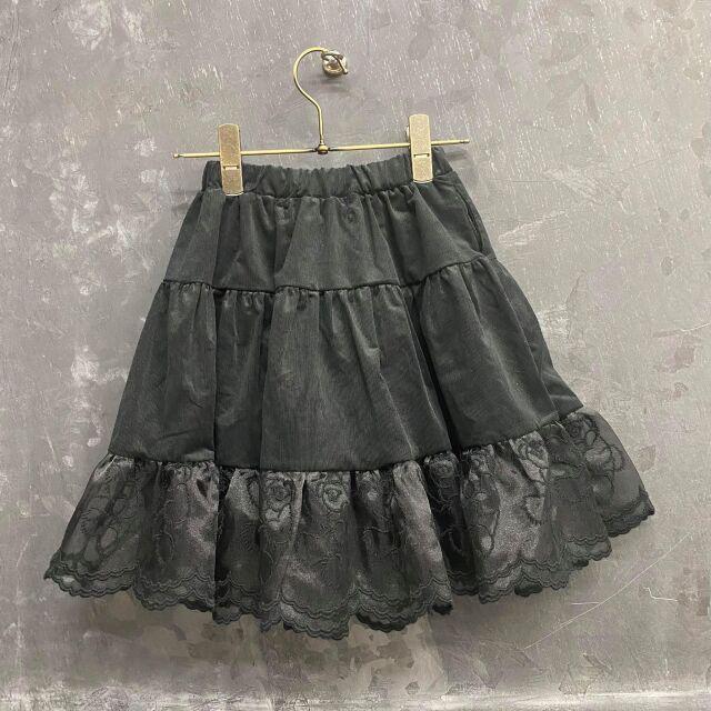 【UNIONINI】SK-006 teddybear lace corduroy long skirt