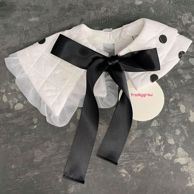 【frankygrow】21FWCOL-006 QUILTING DETACHABLE COLLAR WHITE-BLACK DOTS