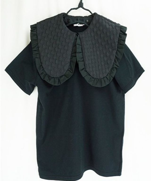 【frankygrow】20SCS-348 REMOVABLE BIG COLLAR TEE DOTS MT BLACK