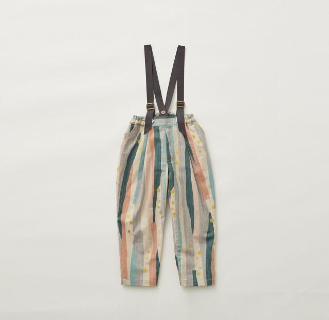 【eLfinFolk】Crambon stripe suspenders pants pale pink