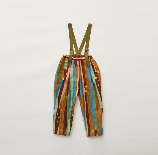 【eLfinFolk】Crambon stripe suspenders pants brown