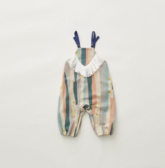 【eLfinFolk】Crambon stripe rompers pale pink