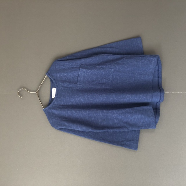 【arkakama】AKT00507 L/S LOOSE  TEE POCKET W GAUZE BLUE