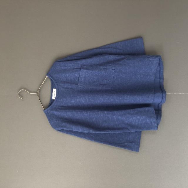 【arkakama】AKT00507 L/S LOOSE  TEE POCKET W GAUZE BLUE