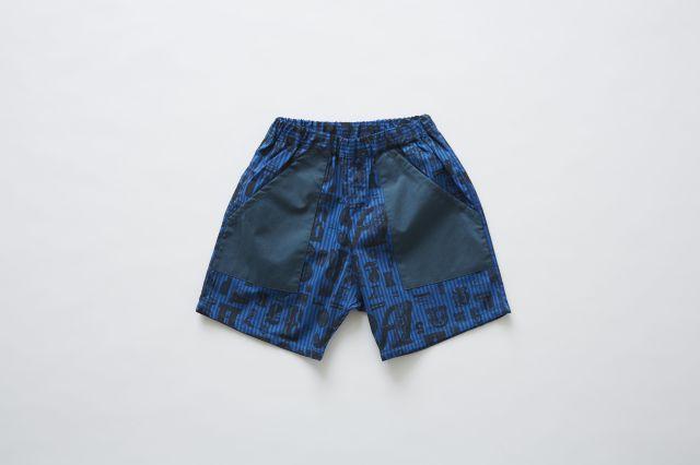 【eLfinFolk】elf-191F14 stripe×alphabetic print shorts