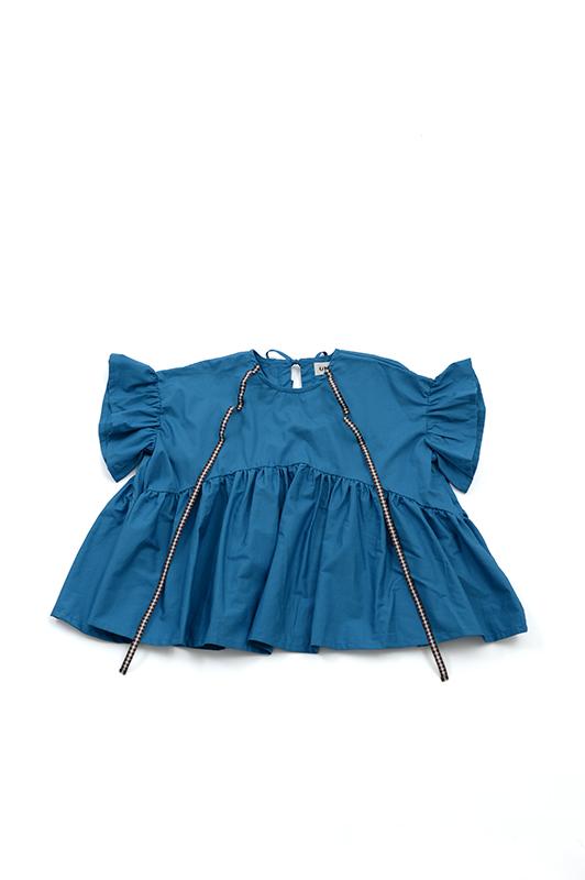 【UNIONINI】BL-003/ribbon blouse/mizuiro