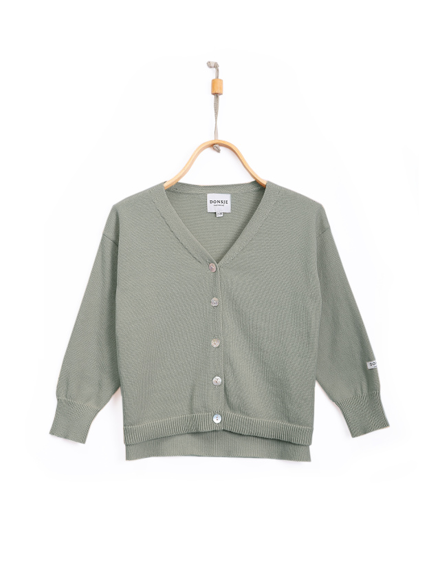 【DONSJE】Finn Cardigan Grey Green Cotton