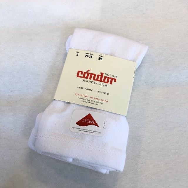 【CONDOR(コンドル)】スムースタイツ/ホワイト(116cm/128cm)