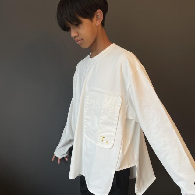 【TuNO】Tn21aw-19 POCKET WIDE L/S TEE WHITE