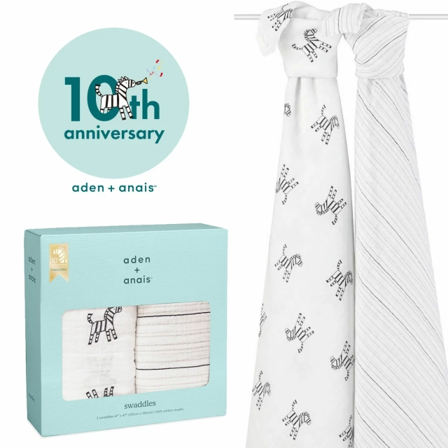 【aden + anais】ガーゼおくるみclassic swaddles 2pack/10周年限定商品/正規品