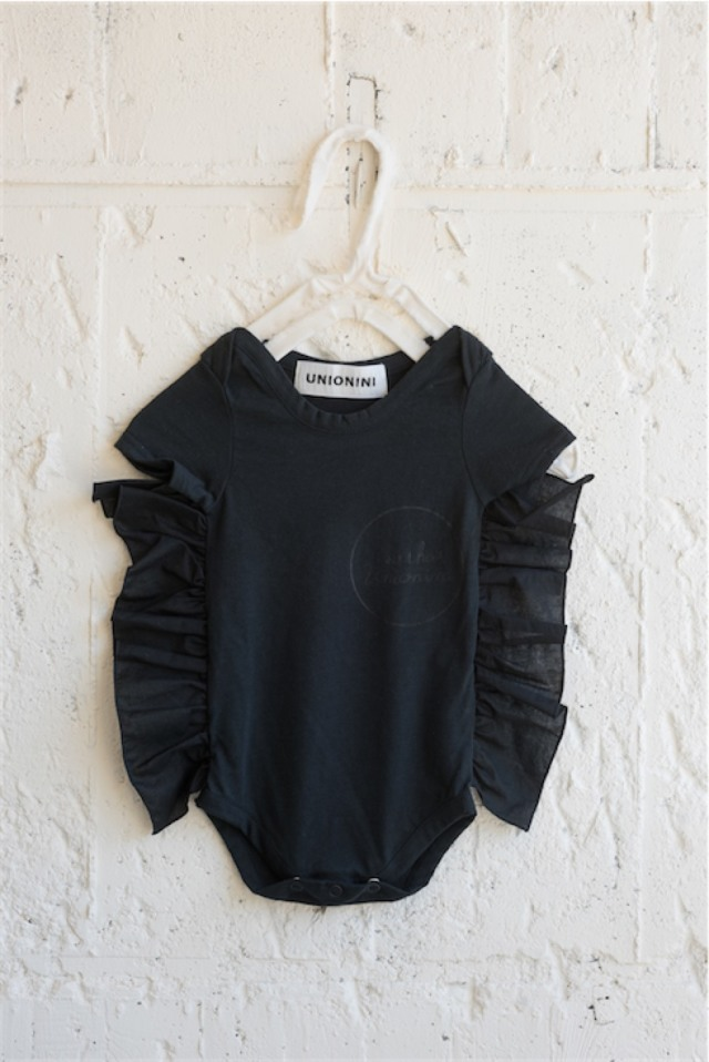 【UNIONINI】BABY-12/organic frill rompers [SO THAT]/black
