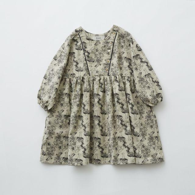 【eLfinFolk】elf-192F04 ALfaFolk emblem print dress