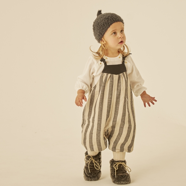 【eLfinFolk】elf-202F30 striped linen  baby rompers