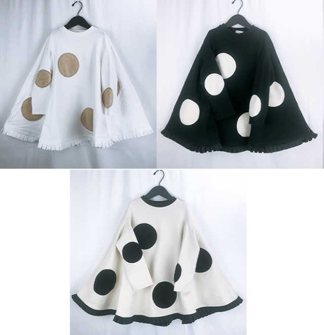 【frankygrow】20FWOP-159 UNEVEN BOA DOTS PONCHO DRESS/キッズから大人まで