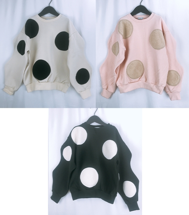 【frankygrow】20FWCS-359 UNEVEN BOA DOTS SWEATSHIRT/キッズから大人まで