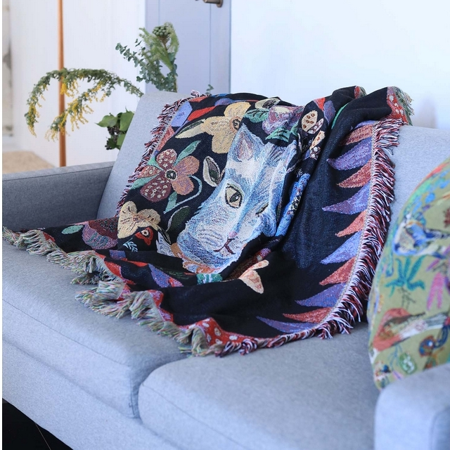 【Nathalie Late】Tapestry Rug Blue cat
