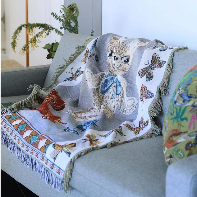 【Nathalie Late】Tapestry Rug Bear&Dog