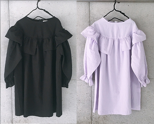 【frankygrow】21SOP-171 ASYMMETRY FRILL DRESS DYED