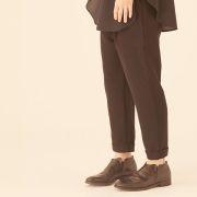 【eLfinFolk】elf-201F62 tuck pants/black