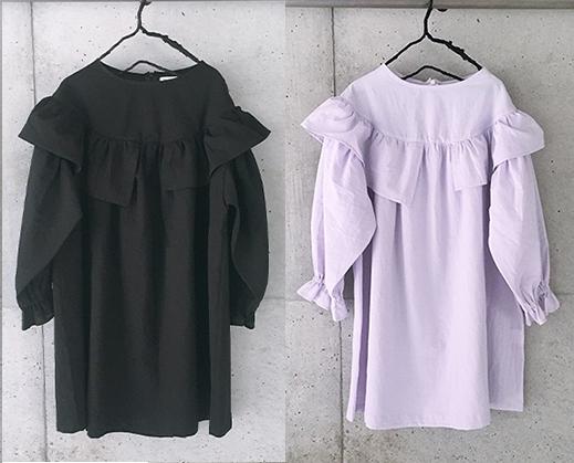 【frankygrow】21SOP-171 ASYMMETRY FRILL DRESS DYED