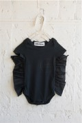 【UNIONINI】BABY-12/organic frill rompers [SO THAT]/black