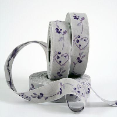 *〔A-35032-02〕 リボンテープ  2cm幅  ベリー&ハート /グレ-&紫 (10cm単位)