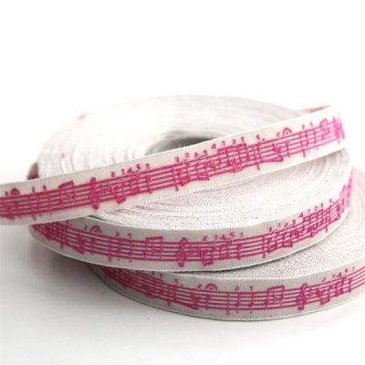 *〔A-35053-04〕 リボンテープ  1cm幅  音楽 / アンティーク&ピンク (10cm単位)