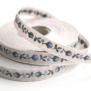 *〔A-35070-08〕 リボンテープ  バラの蕾 1cm幅  アンティーク / ブルー