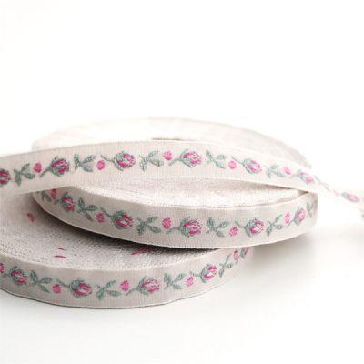 *〔A-35070-14〕 リボンテープ  バラの蕾 1cm幅  アンティーク / ピンク