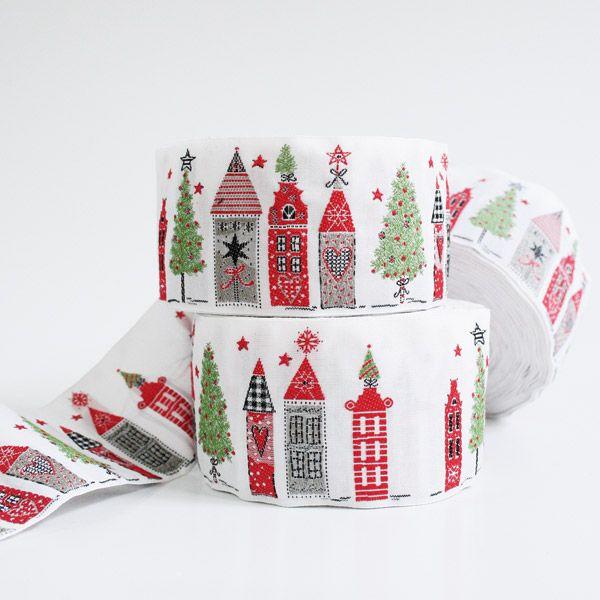 *〔A-35081-01〕 リボンテープ  クリスマスの街 5cm幅  (1モチーフ=16cm)