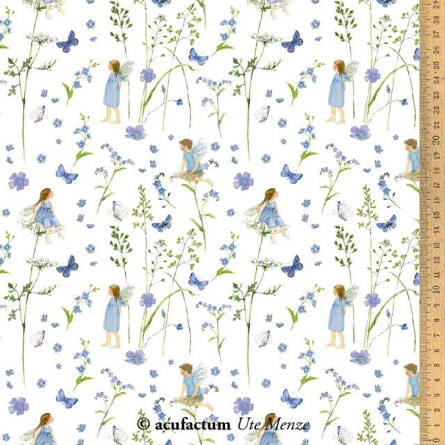 **〔Acufactum〕 A-3523-340 生地 / 妖精の庭 - ブルー  (1m単位)