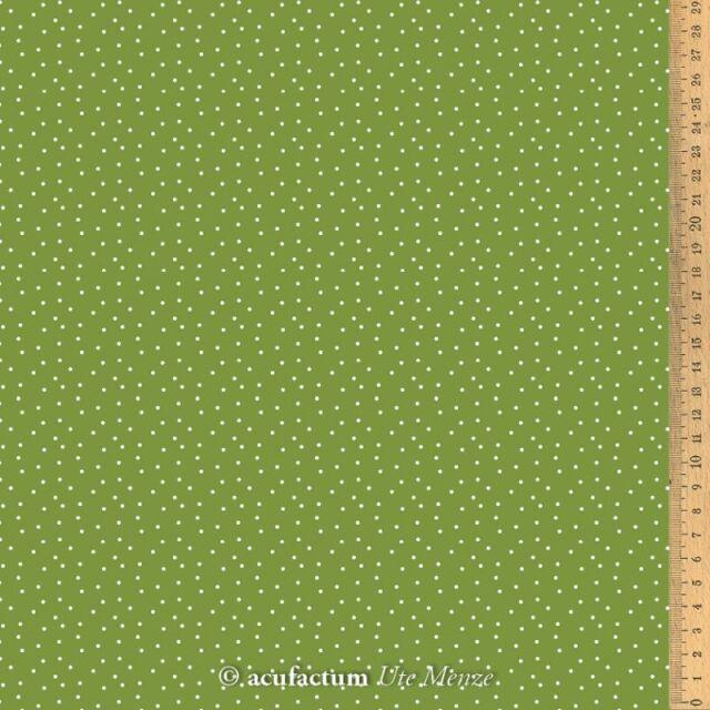 **〔Acufactum〕 A-3523-807 生地 / ドット - オリーブグリーン  (1m単位)