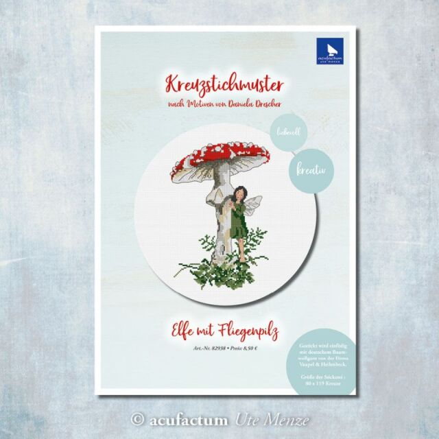 **〔Acufactum〕 図案 / A-82938 /  Elfe mit Fliegenpilz