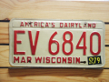 Used License Plate★WISCONSIN★EV 6840