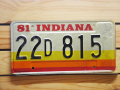 Used License Plate★INDIANA/インディアナ★22D815