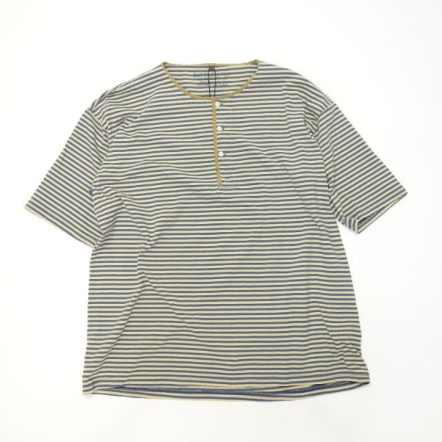 Nigel Cabourn 50`S HENLEY NECK SHIRT - BORDER