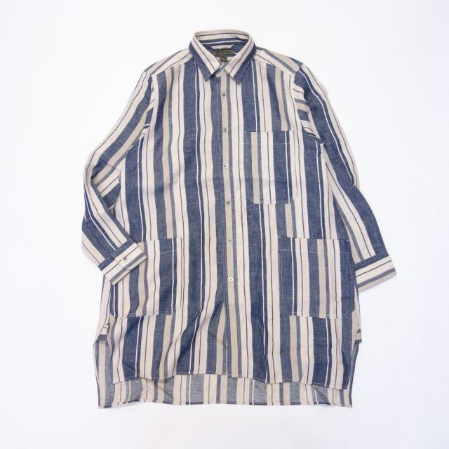 Nigel Cabourn SLEEP SHIRT LINEN STRIPE