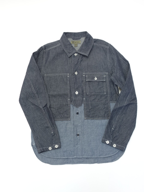 Nigel Cabourn UTILITY SHIRT - COTTON LINEN DENIM