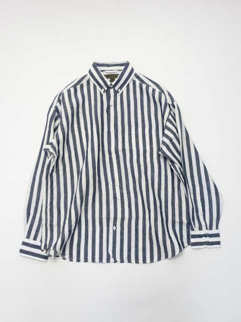 Nigel Cabourn WIDE SHIRT - LINEN STRIPE