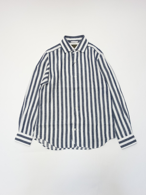 Nigel Cabourn BRITISH OFFICER'S SHIRT - LINEN STRIPE