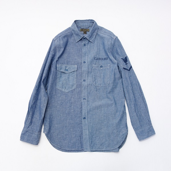 Nigel Cabourn U.S. NAVY MIX SHIRT - DUNGAREE