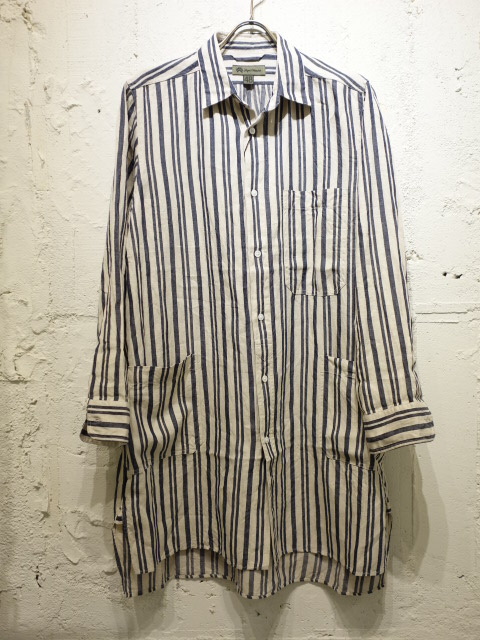 Nigel Cabourn SLEEP SHIRT (LINEN HICKORY)