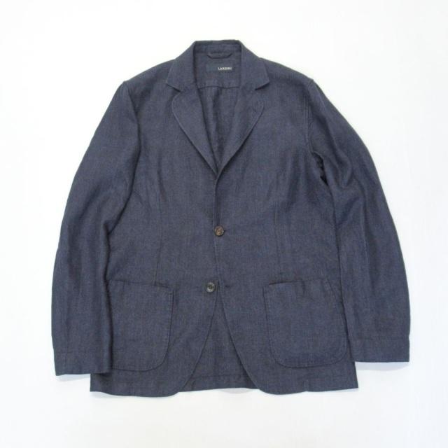 JRAMJ-EIC1196-850 LARDINI (ラルディーニ)LINEN100% シングル2Bシャツジャケット ネイビー