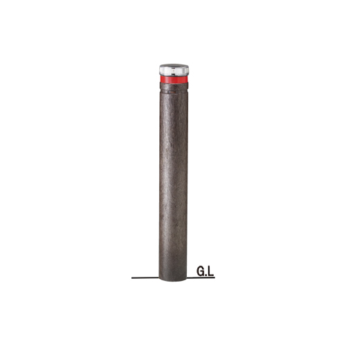 再生プラスチックバリカーφ115×H857ソーラーLED点滅タイプ/エコブラウン