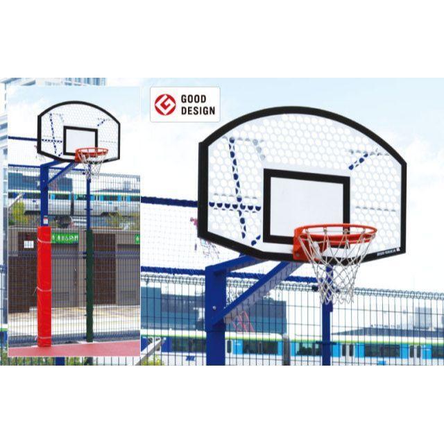 バスケットゴール単柱式アルミパンチング「扇型」