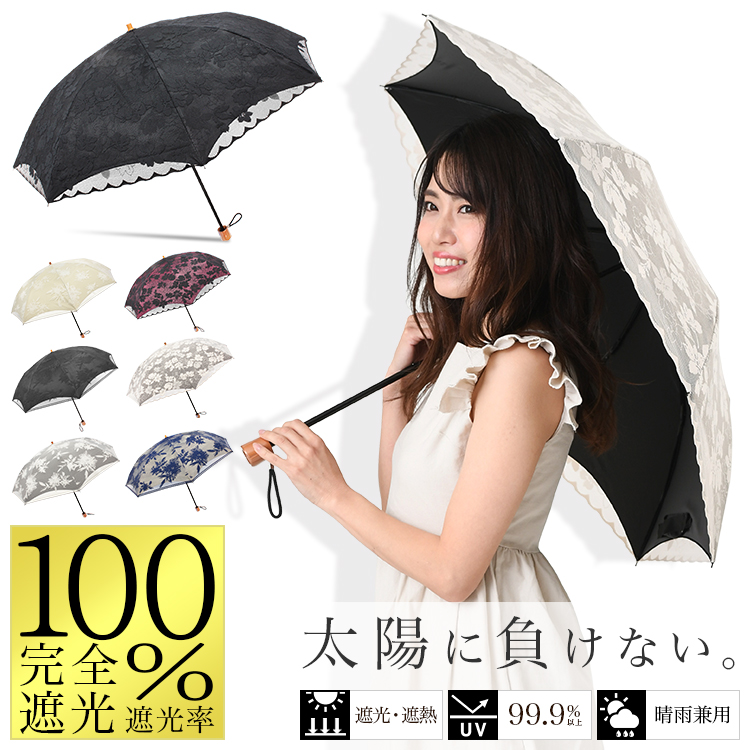 2重張りレース完全遮光折りたたみ日傘