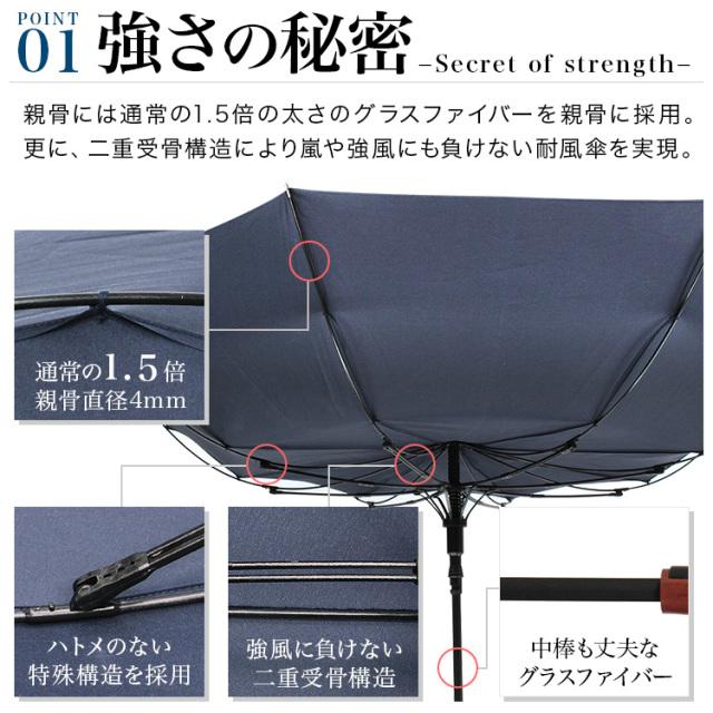 強化フレーム採用高強度メンズジャンプ傘