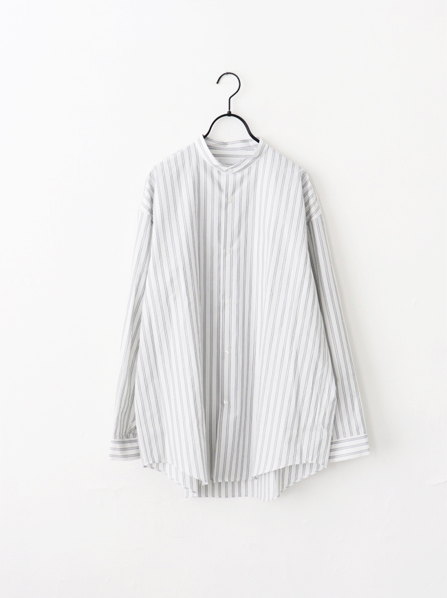 Phlannel Cotton Silk Over Sized Band Collar Shirt